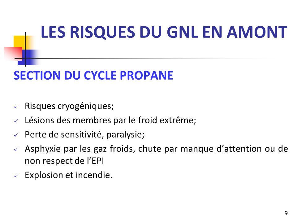 LES RISQUES DU GNL EN AMONT SECTION DU CYCLE PROPANE Risques cryogéniques; Lésions des membres par le froid extrême; Perte de sensitivité, paralysie;