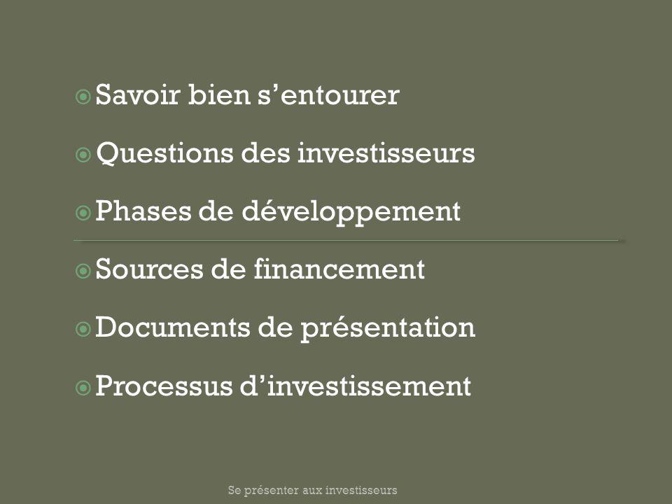Se présenter aux investisseurs Savoir bien sentourer Questions des investisseurs Phases de développement Sources de financement Documents de présentat