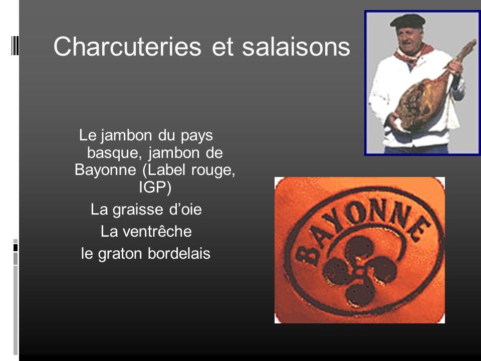 Charcuteries et salaisons Le jambon du pays basque, jambon de Bayonne (Label rouge, IGP) La graisse doie La ventrêche le graton bordelais
