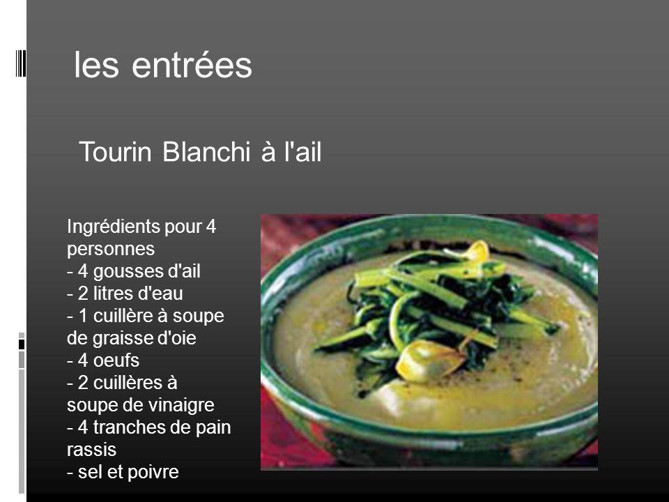 les entrées Tourin Blanchi à l'ail Ingrédients pour 4 personnes - 4 gousses d'ail - 2 litres d'eau - 1 cuillère à soupe de graisse d'oie - 4 oeufs - 2
