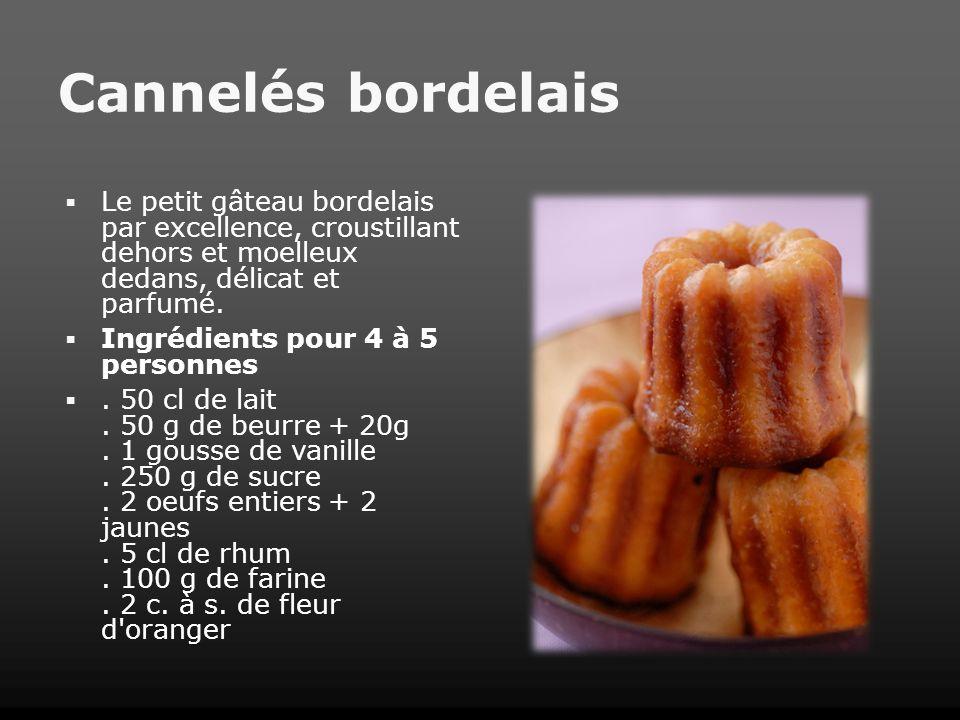 Cannelés bordelais Le petit gâteau bordelais par excellence, croustillant dehors et moelleux dedans, délicat et parfumé. Ingrédients pour 4 à 5 person