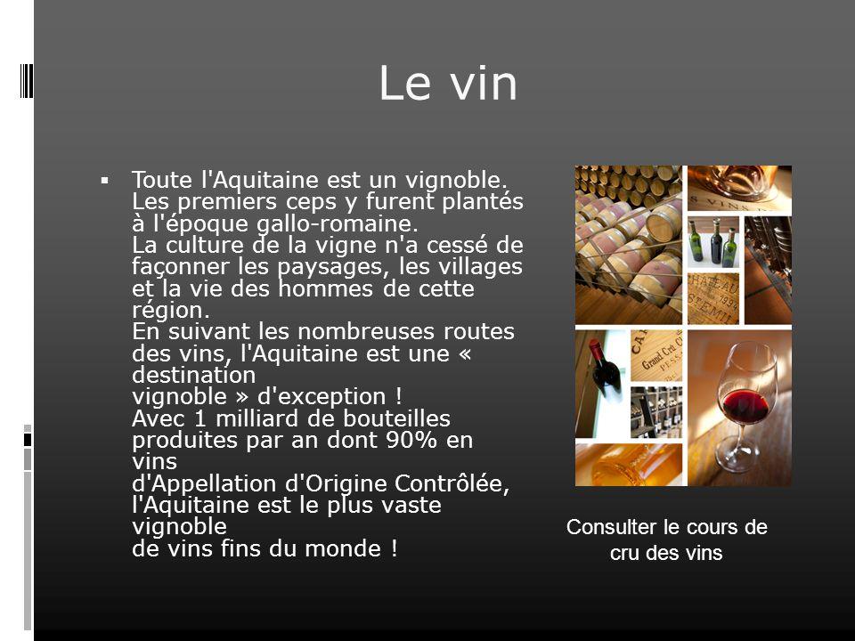 Le vin Toute l'Aquitaine est un vignoble. Les premiers ceps y furent plantés à l'époque gallo-romaine. La culture de la vigne n'a cessé de façonner le