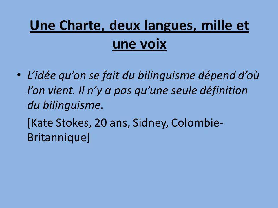 Une Charte, deux langues, mille et une voix Lidée quon se fait du bilinguisme dépend doù lon vient.