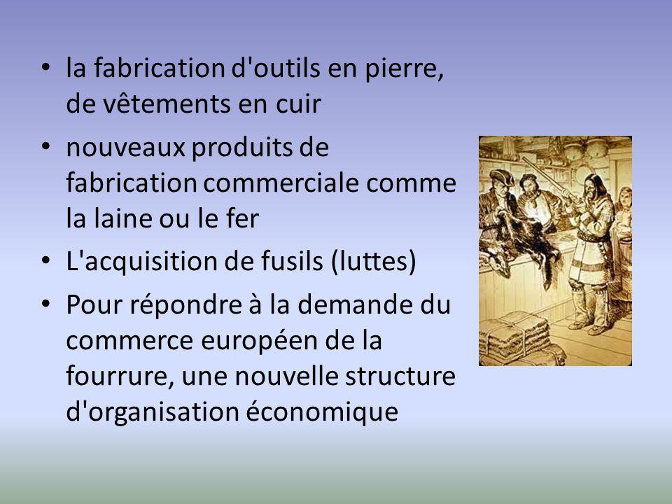 la fabrication d'outils en pierre, de vêtements en cuir nouveaux produits de fabrication commerciale comme la laine ou le fer L'acquisition de fusils