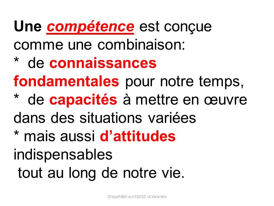 Une compétence est conçue comme une combinaison: * de connaissances fondamentales pour notre temps, * de capacités à mettre en œuvre dans des situatio