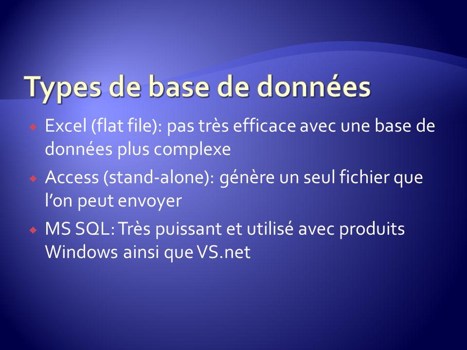 Excel (flat file): pas très efficace avec une base de données plus complexe Access (stand-alone): génère un seul fichier que lon peut envoyer MS SQL: