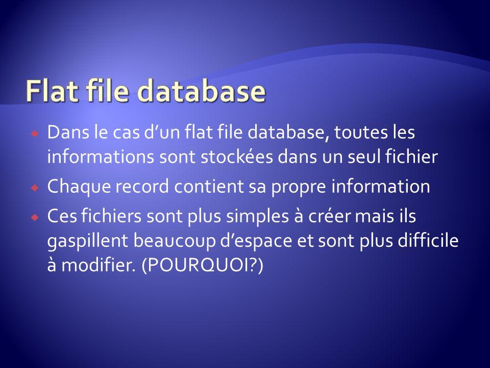 Dans le cas dun flat file database, toutes les informations sont stockées dans un seul fichier Chaque record contient sa propre information Ces fichie