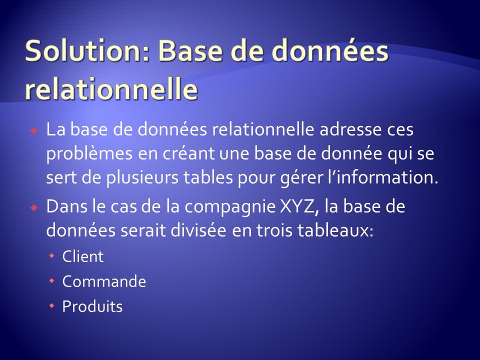 La base de données relationnelle adresse ces problèmes en créant une base de donnée qui se sert de plusieurs tables pour gérer linformation. Dans le c