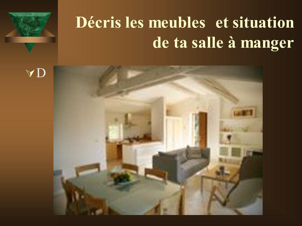 Décris les meubles et situation de ta salle à manger D