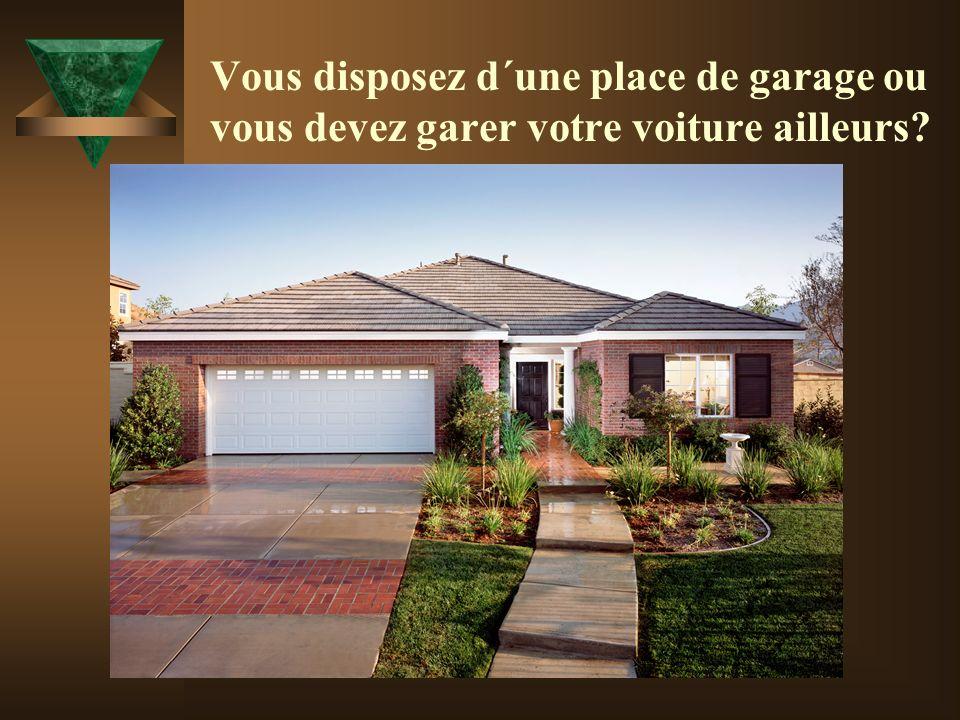 Vous disposez d´une place de garage ou vous devez garer votre voiture ailleurs?