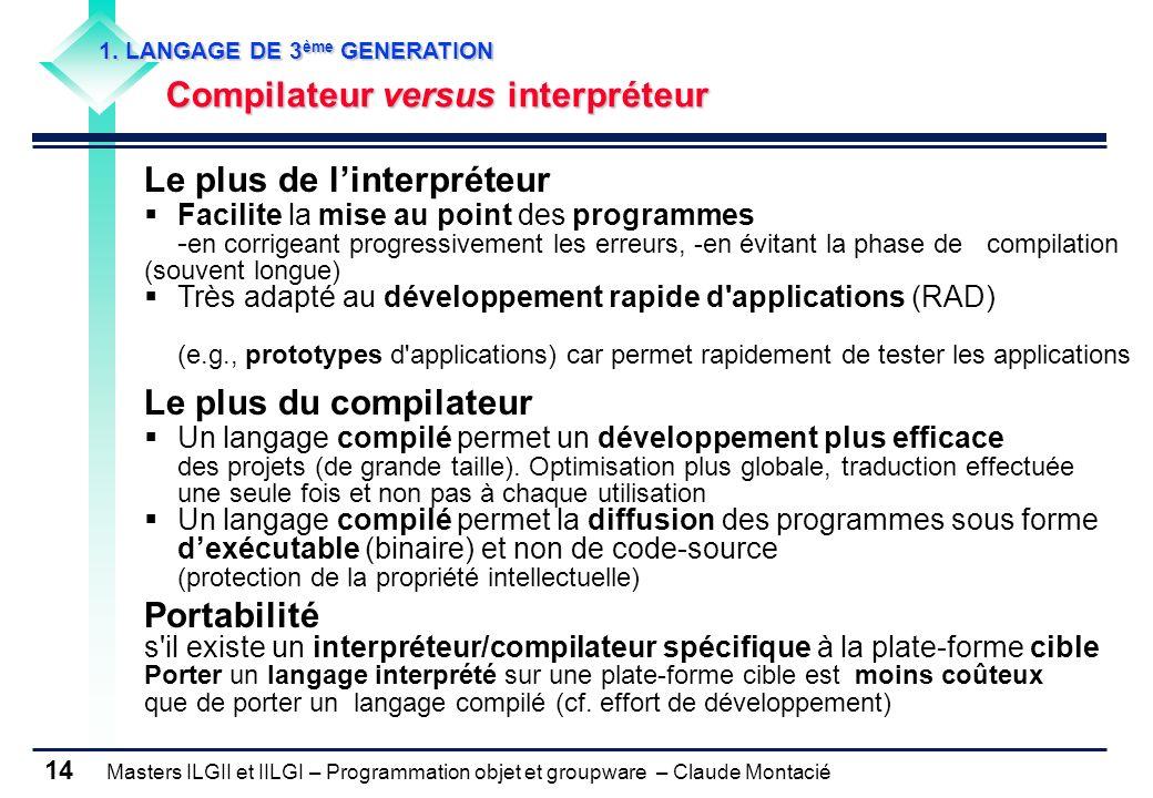 Masters ILGII et IILGI – Programmation objet et groupware – Claude Montacié 14 1. LANGAGE DE 3 ème GENERATION Compilateur versus interpréteur Le plus