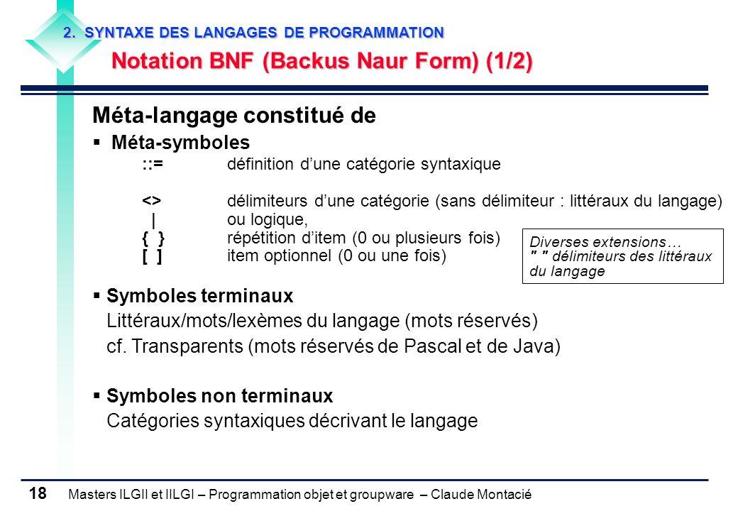 Masters ILGII et IILGI – Programmation objet et groupware – Claude Montacié 18 2. SYNTAXE DES LANGAGES DE PROGRAMMATION Notation BNF (Backus Naur Form