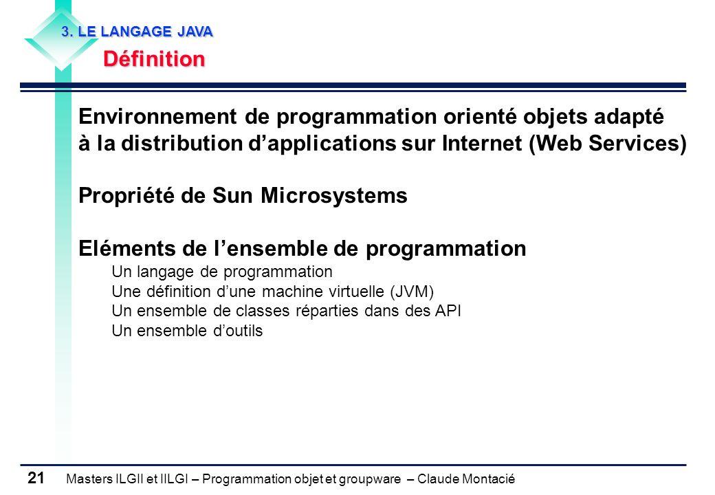 Masters ILGII et IILGI – Programmation objet et groupware – Claude Montacié 21 3. LE LANGAGE JAVA Définition Environnement de programmation orienté ob
