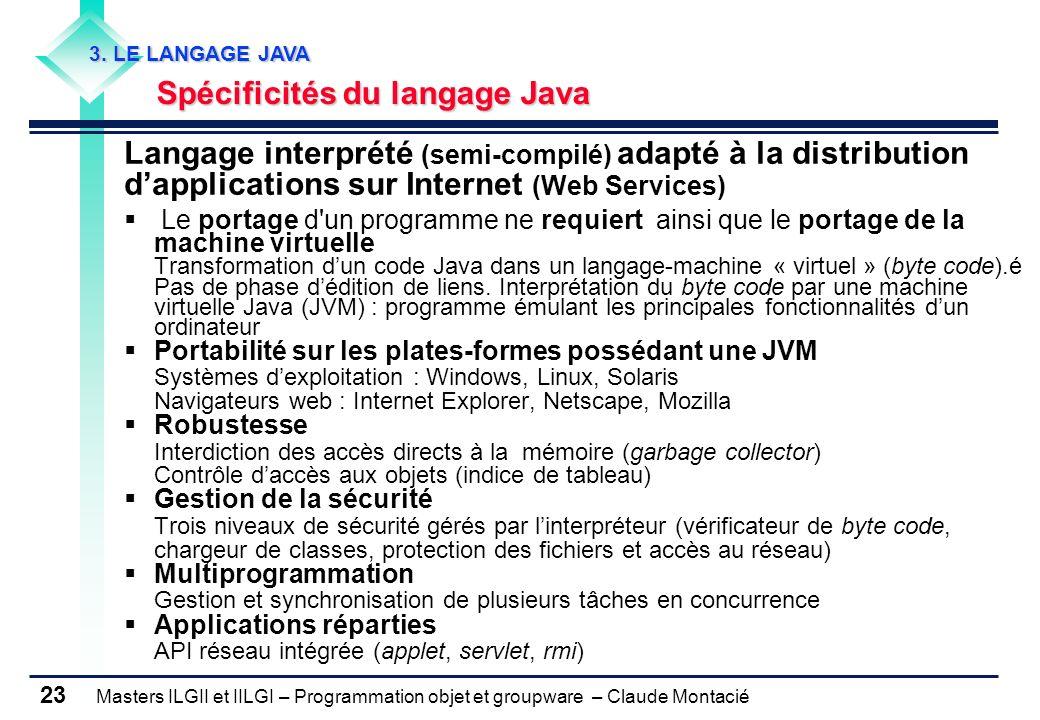 Masters ILGII et IILGI – Programmation objet et groupware – Claude Montacié 23 3. LE LANGAGE JAVA Spécificités du langage Java Spécificités du langage