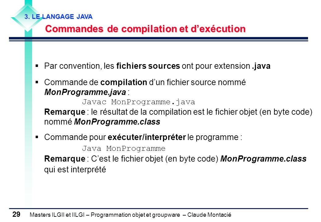 Masters ILGII et IILGI – Programmation objet et groupware – Claude Montacié 29 Par convention, les fichiers sources ont pour extension.java Commande d