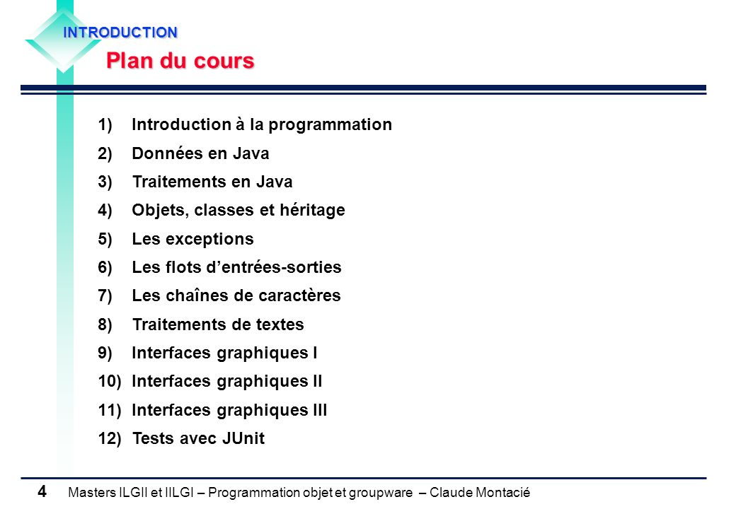 Masters ILGII et IILGI – Programmation objet et groupware – Claude Montacié 4 INTRODUCTION Plan du cours 1)Introduction à la programmation 2)Données e