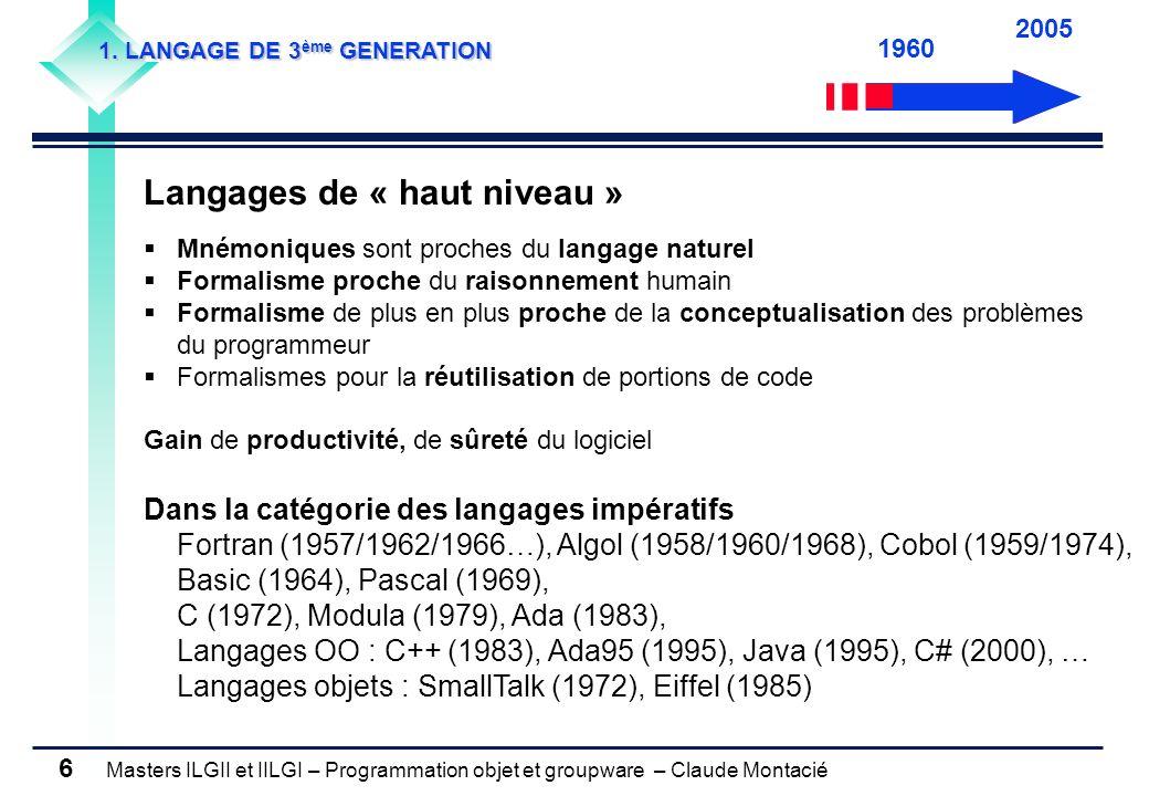 Masters ILGII et IILGI – Programmation objet et groupware – Claude Montacié 6 1. LANGAGE DE 3 ème GENERATION Langages de « haut niveau » Mnémoniques s