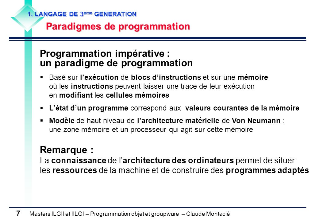 Masters ILGII et IILGI – Programmation objet et groupware – Claude Montacié 7 1. LANGAGE DE 3 ème GENERATION Paradigmes de programmation Programmation