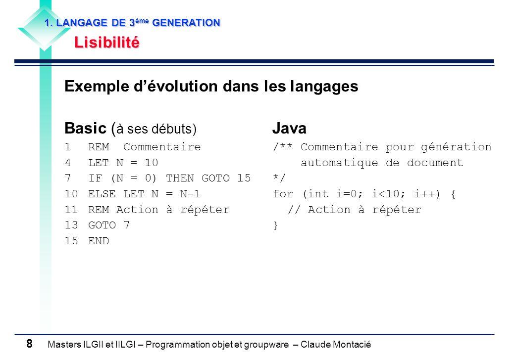 Masters ILGII et IILGI – Programmation objet et groupware – Claude Montacié 29 Par convention, les fichiers sources ont pour extension.java Commande de compilation dun fichier source nommé MonProgramme.java : Javac MonProgramme.java Remarque : le résultat de la compilation est le fichier objet (en byte code) nommé MonProgramme.class Commande pour exécuter/interpréter le programme : Java MonProgramme Remarque : Cest le fichier objet (en byte code) MonProgramme.class qui est interprété 3.