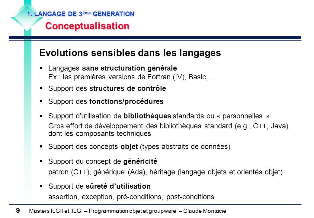 Masters ILGII et IILGI – Programmation objet et groupware – Claude Montacié 9 1. LANGAGE DE 3 ème GENERATION Conceptualisation Evolutions sensibles da