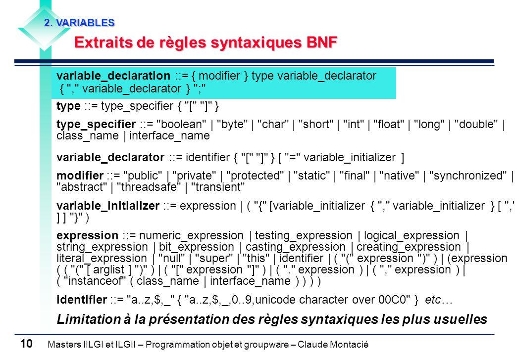 Masters IILGI et ILGII – Programmation objet et groupware – Claude Montacié 10 2. VARIABLES Extraits de règles syntaxiques BNF variable_declaration ::
