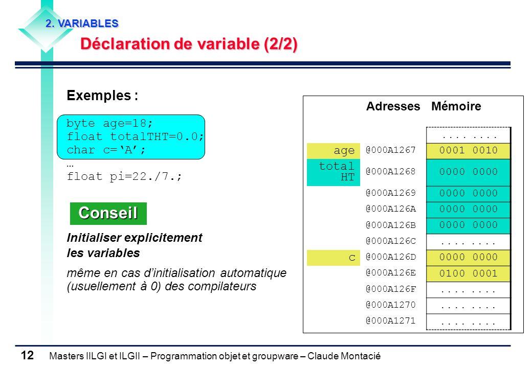 Masters IILGI et ILGII – Programmation objet et groupware – Claude Montacié 12 2. VARIABLES Déclaration de variable (2/2) Déclaration de variable (2/2