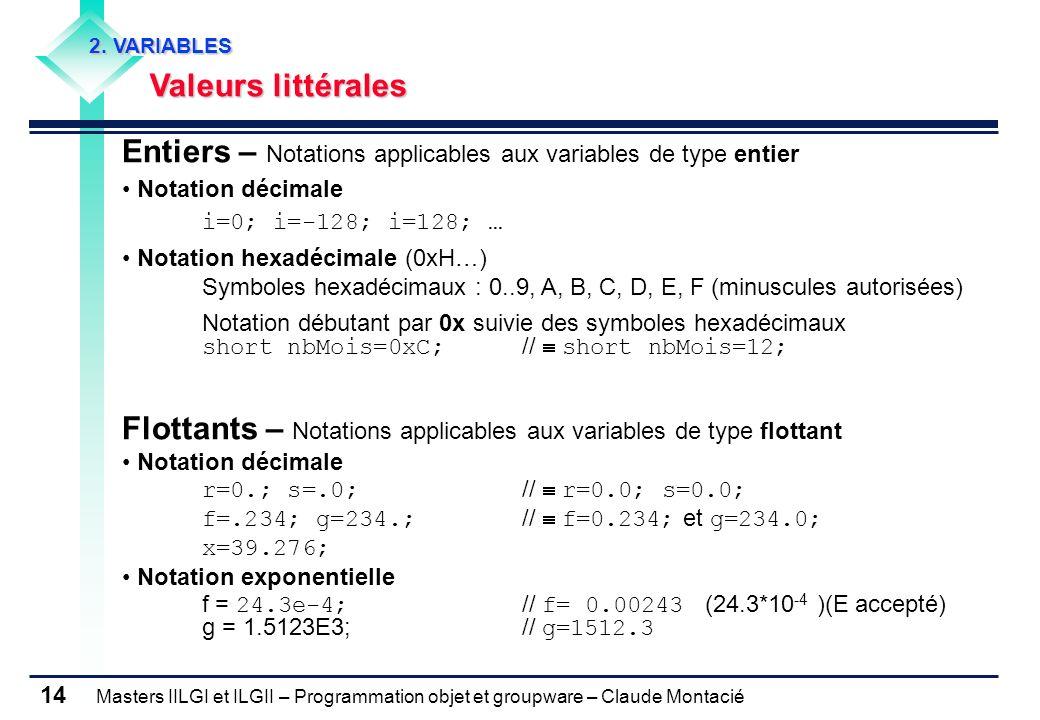 Masters IILGI et ILGII – Programmation objet et groupware – Claude Montacié 14 2. VARIABLES Valeurs littérales Entiers – Notations applicables aux var