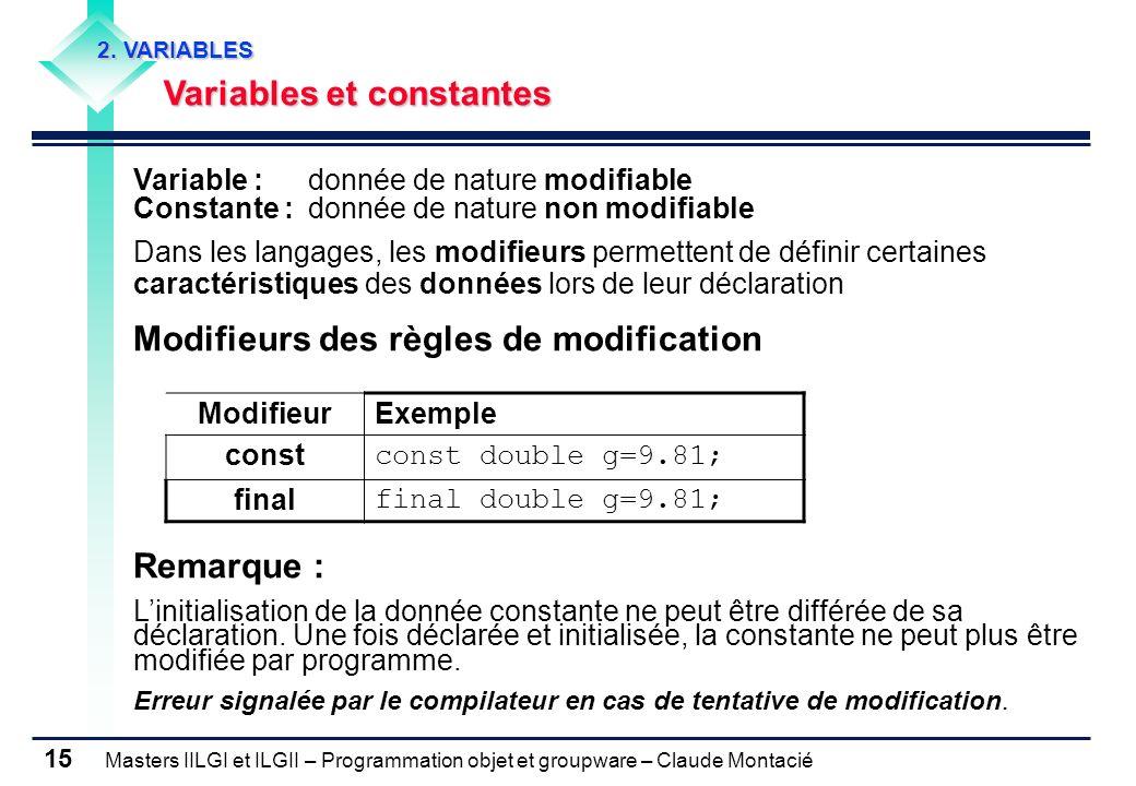 Masters IILGI et ILGII – Programmation objet et groupware – Claude Montacié 15 2. VARIABLES Variables et constantes Variable : donnée de nature modifi
