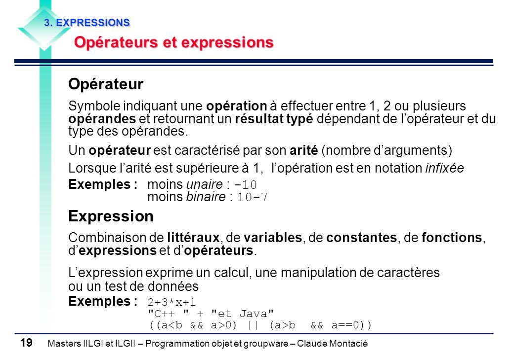 Masters IILGI et ILGII – Programmation objet et groupware – Claude Montacié 19 3. EXPRESSIONS Opérateurs et expressions Opérateur Symbole indiquant un