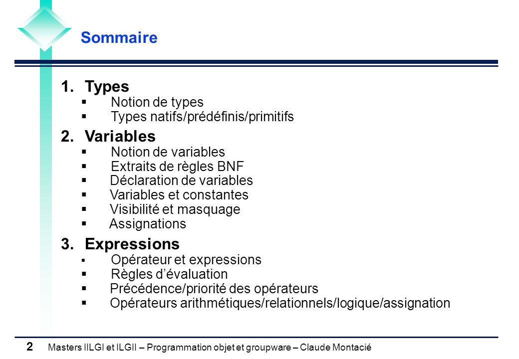 Masters IILGI et ILGII – Programmation objet et groupware – Claude Montacié 2 1.Types Notion de types Types natifs/prédéfinis/primitifs 2. Variables N