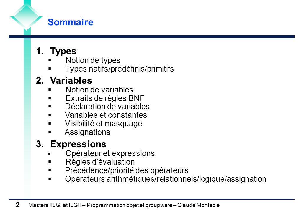 Masters IILGI et ILGII – Programmation objet et groupware – Claude Montacié 3 1.