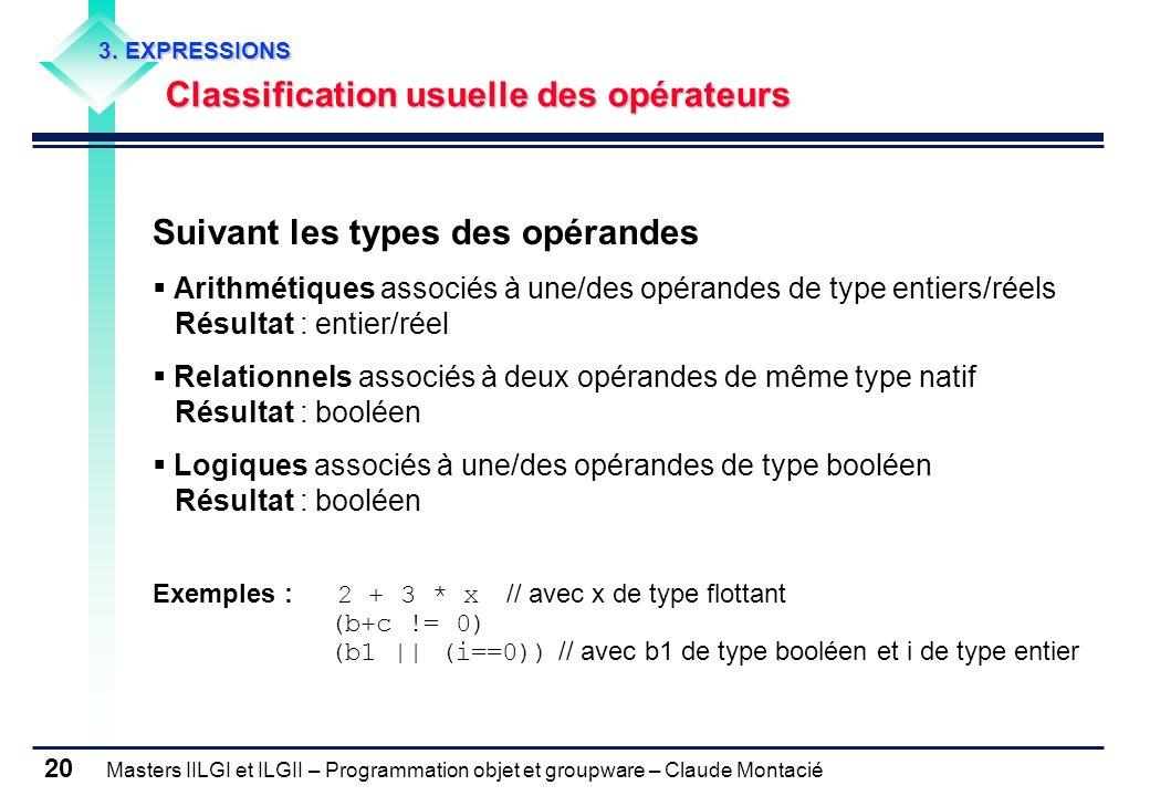 Masters IILGI et ILGII – Programmation objet et groupware – Claude Montacié 20 3. EXPRESSIONS Classification usuelle des opérateurs Suivant les types