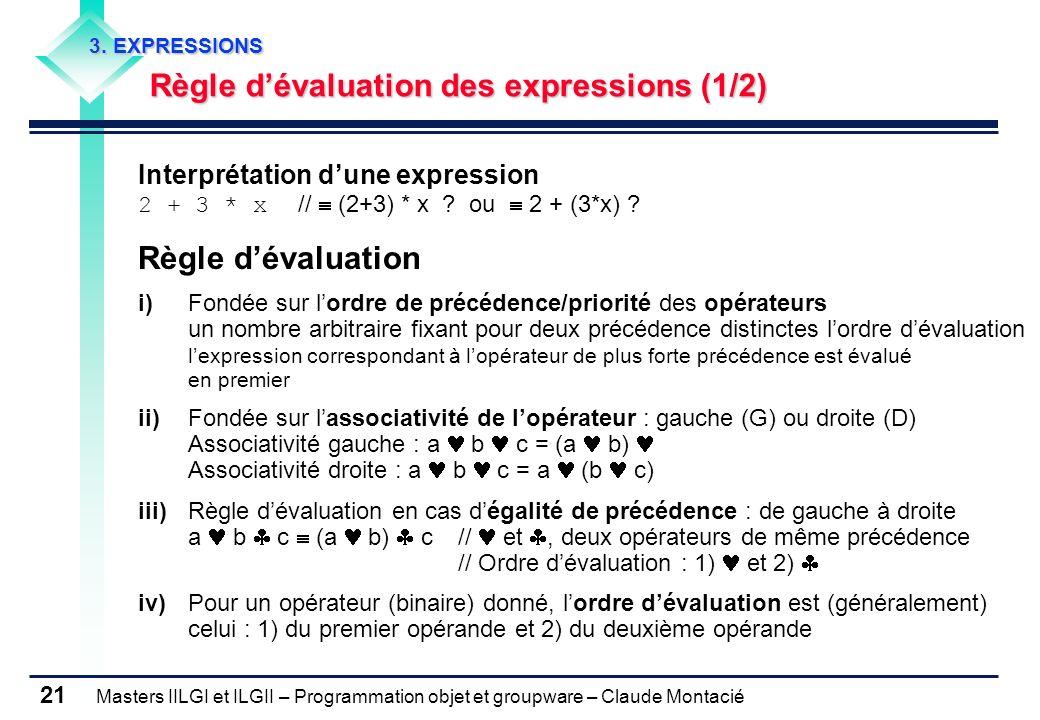Masters IILGI et ILGII – Programmation objet et groupware – Claude Montacié 21 3. EXPRESSIONS Règle dévaluation des expressions (1/2) Interprétation d