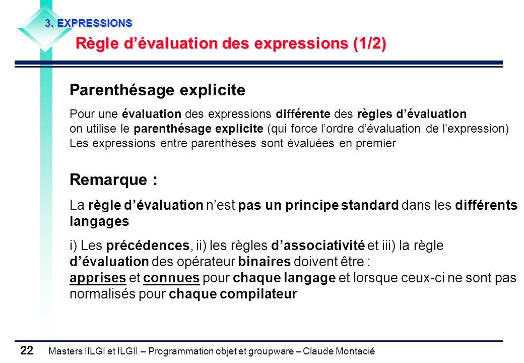 Masters IILGI et ILGII – Programmation objet et groupware – Claude Montacié 22 3. EXPRESSIONS Règle dévaluation des expressions (1/2) Parenthésage exp
