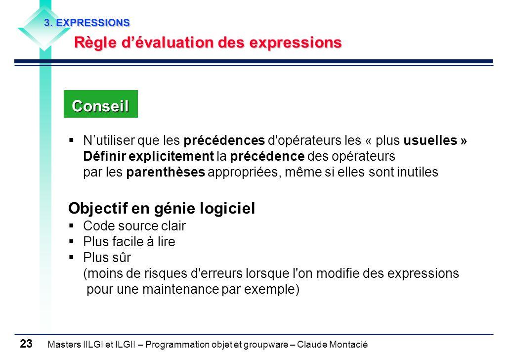Masters IILGI et ILGII – Programmation objet et groupware – Claude Montacié 23 3. EXPRESSIONS Règle dévaluation des expressions Nutiliser que les préc