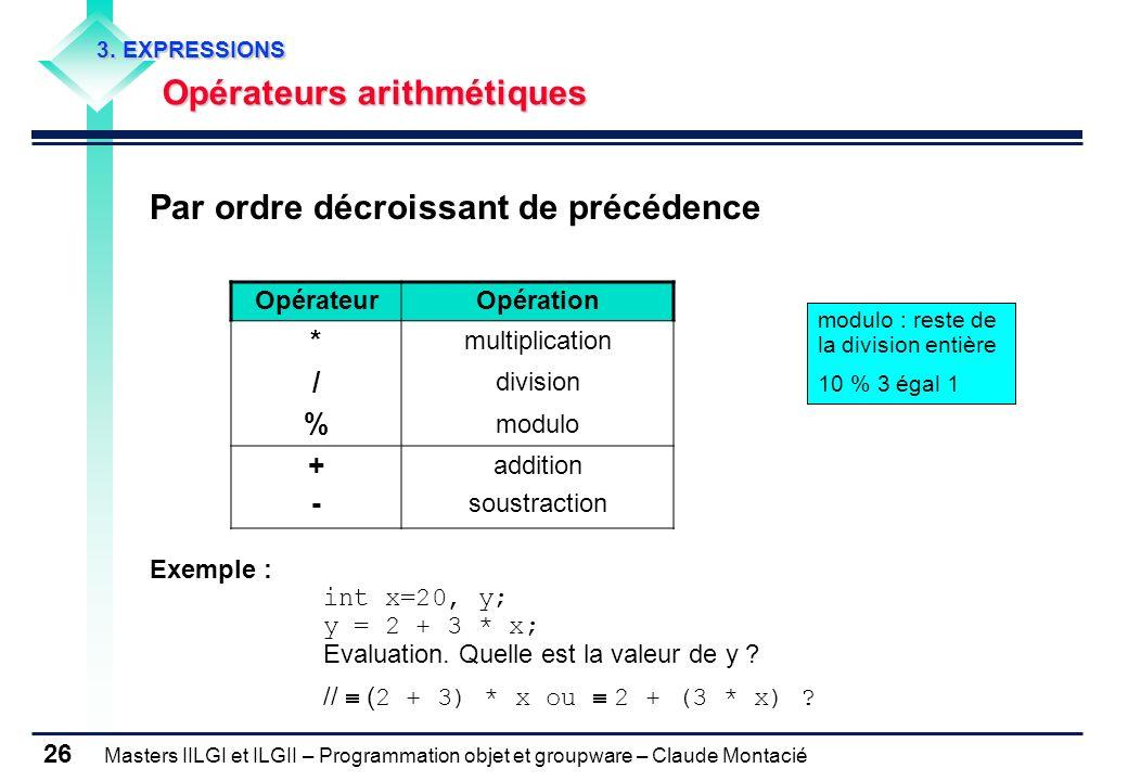 Masters IILGI et ILGII – Programmation objet et groupware – Claude Montacié 26 3. EXPRESSIONS Opérateurs arithmétiques Par ordre décroissant de précéd
