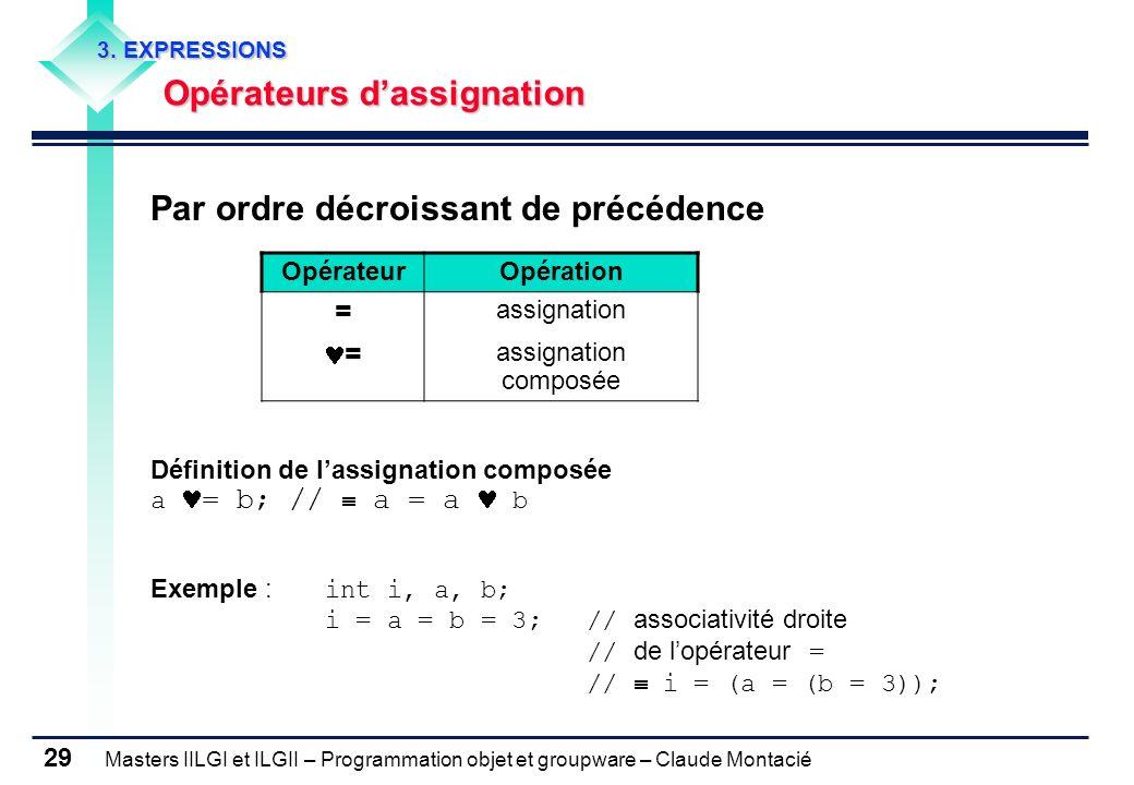 Masters IILGI et ILGII – Programmation objet et groupware – Claude Montacié 29 3. EXPRESSIONS Opérateurs dassignation Par ordre décroissant de précéde