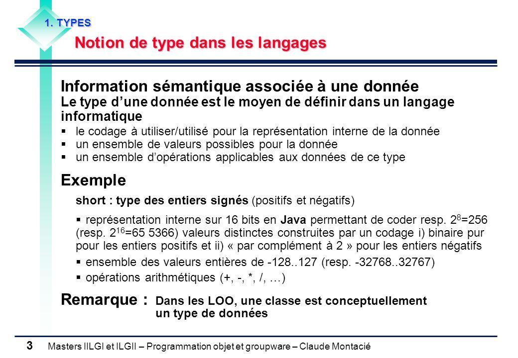 Masters IILGI et ILGII – Programmation objet et groupware – Claude Montacié 3 1. TYPES Notion de type dans les langages Information sémantique associé
