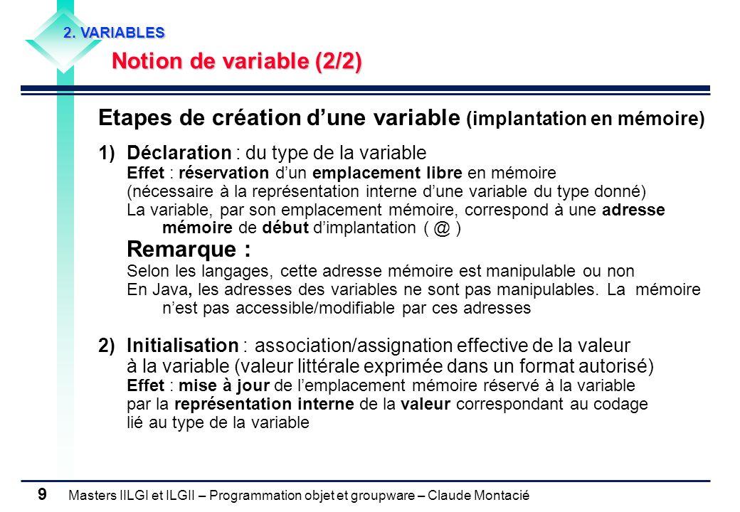 Masters IILGI et ILGII – Programmation objet et groupware – Claude Montacié 9 2. VARIABLES Notion de variable (2/2) Notion de variable (2/2) Etapes de