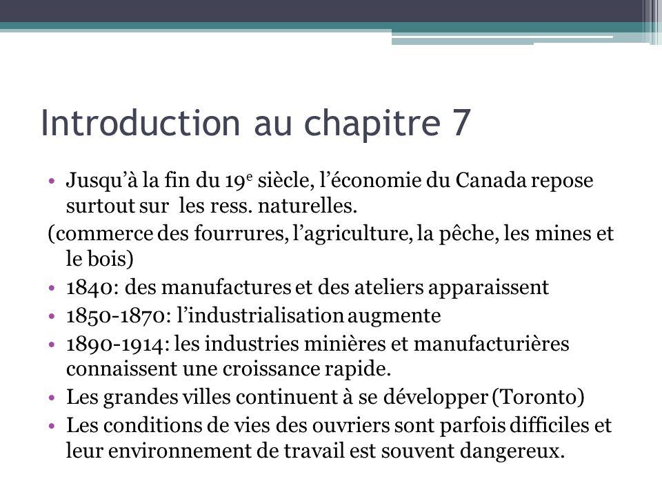 Suite… Cest souvent des femmes et des enfants qui sont des ouvriers et ils ont un salaire minime Grande question du chapitre 7: Comment des facteurs sociaux, économiques, politiques et le progrès technologiques favorisent-ils le changement au Canada?