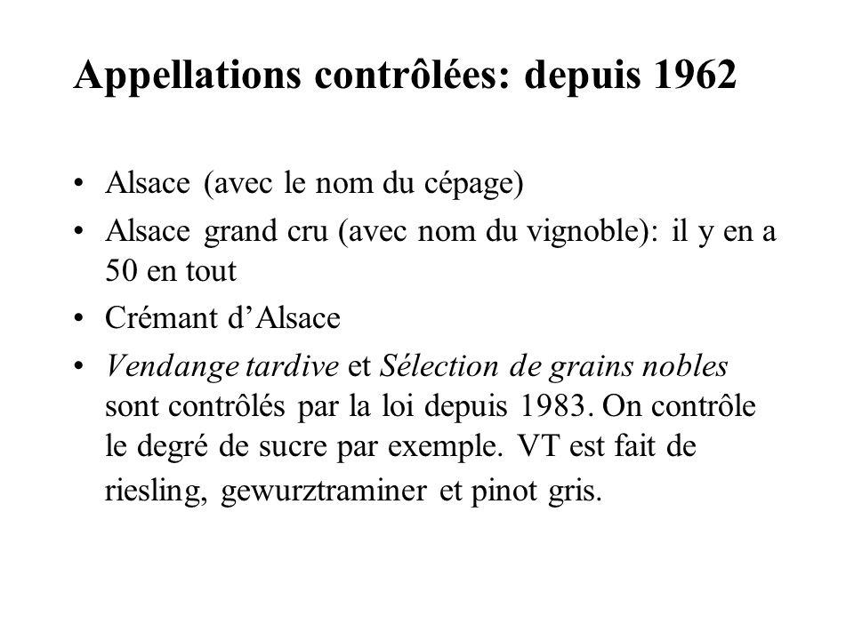Appellations contrôlées: depuis 1962 Alsace (avec le nom du cépage) Alsace grand cru (avec nom du vignoble): il y en a 50 en tout Crémant dAlsace Vend