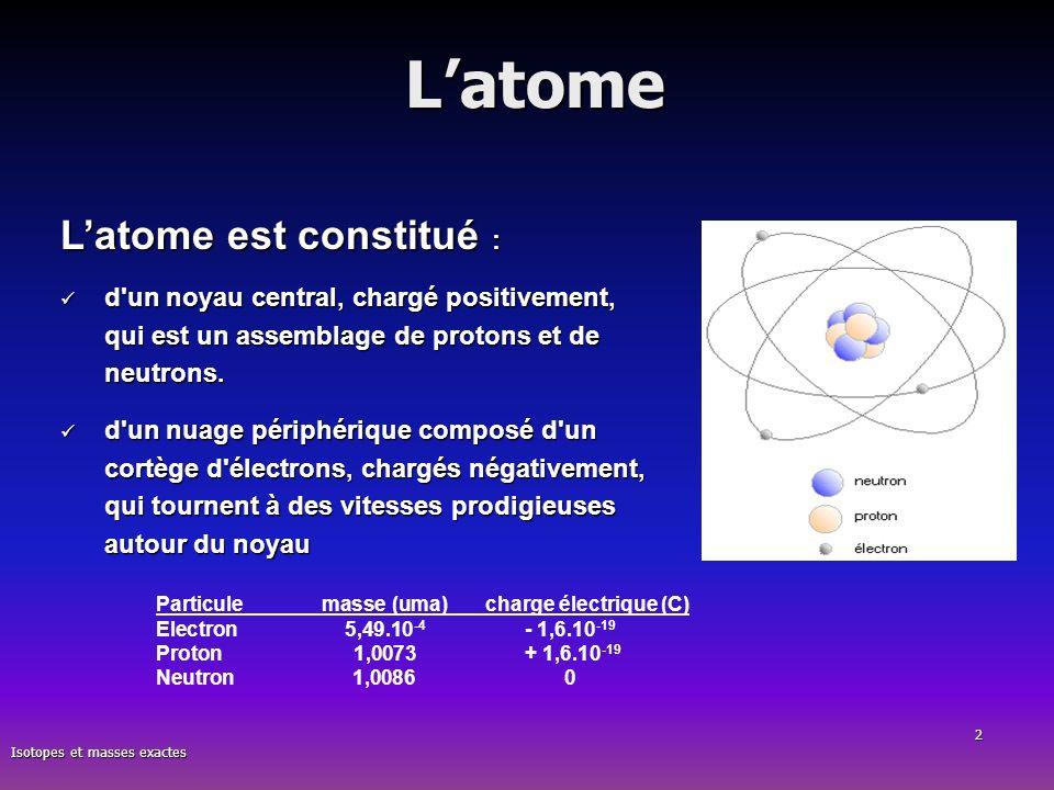 Isotopes et masses exactes 2Latome Latome est constitué : d'un noyau central, chargé positivement, qui est un assemblage de protons et de neutrons. d'