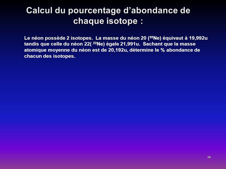 10 Calcul du pourcentage dabondance de chaque isotope : Le néon possède 2 isotopes. La masse du néon 20 ( 20 Ne) équivaut à 19,992u tandis que celle d