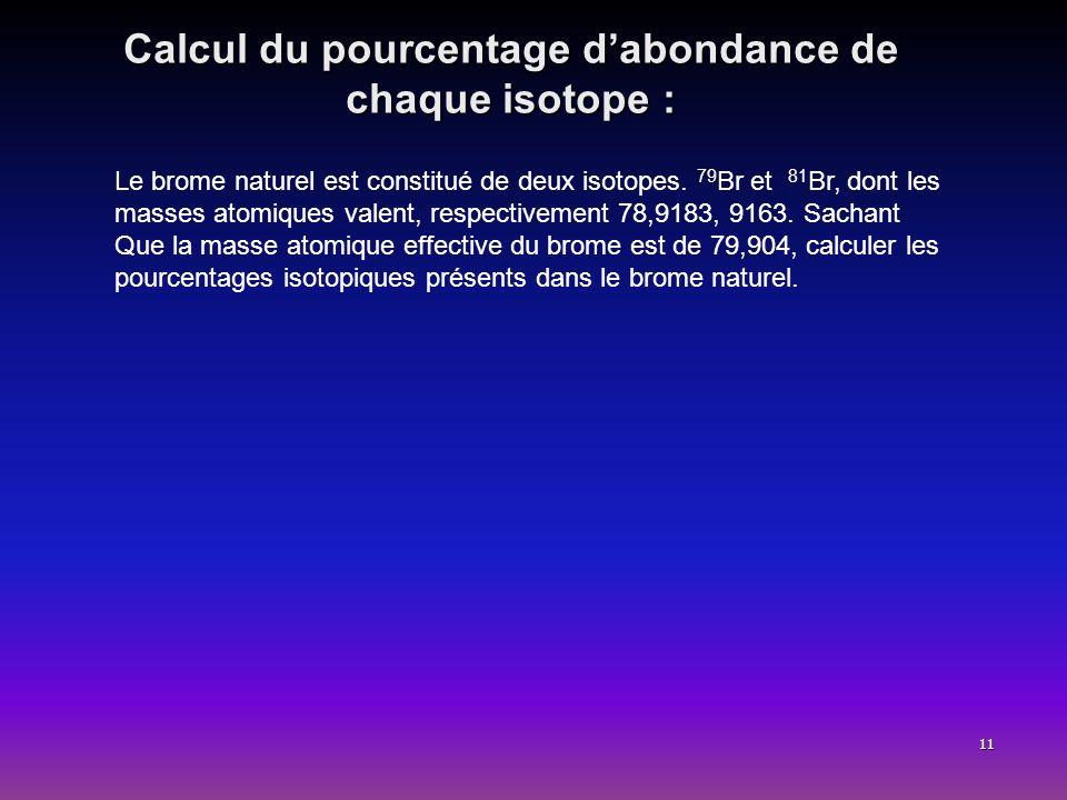 11 Calcul du pourcentage dabondance de chaque isotope : Le brome naturel est constitué de deux isotopes. 79 Br et 81 Br, dont les masses atomiques val