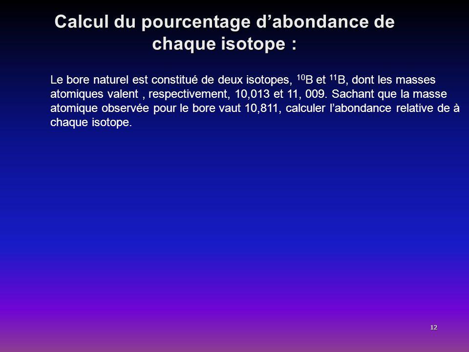 12 Calcul du pourcentage dabondance de chaque isotope : Le bore naturel est constitué de deux isotopes, 10 B et 11 B, dont les masses atomiques valent