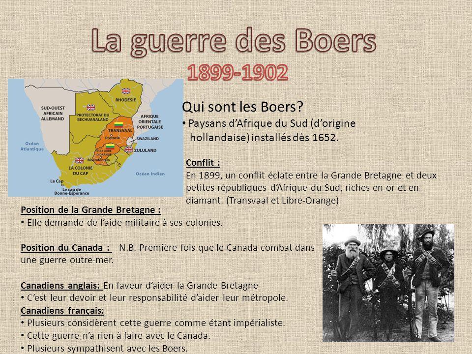 Qui sont les Boers? Paysans dAfrique du Sud (dorigine hollandaise) installés dès 1652. Conflit : En 1899, un conflit éclate entre la Grande Bretagne e