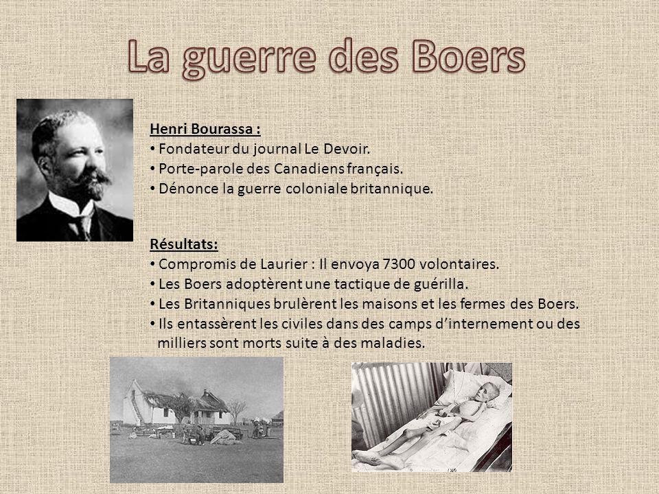 Henri Bourassa : Fondateur du journal Le Devoir. Porte-parole des Canadiens français. Dénonce la guerre coloniale britannique. Résultats: Compromis de