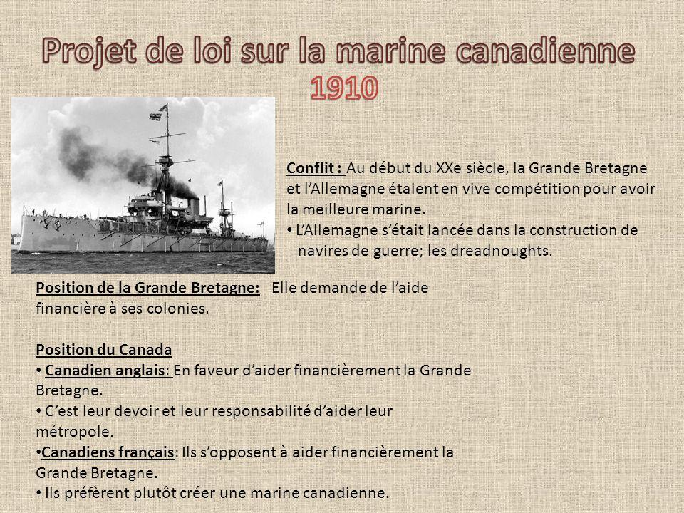Résultat: Laurier rejette lidée daccorder une aide monétaire et décide plutôt de développer une marine canadienne sous le contrôle canadien et pourrait en cas de guerre, être mise à la disposition de la Grande Bretagne.