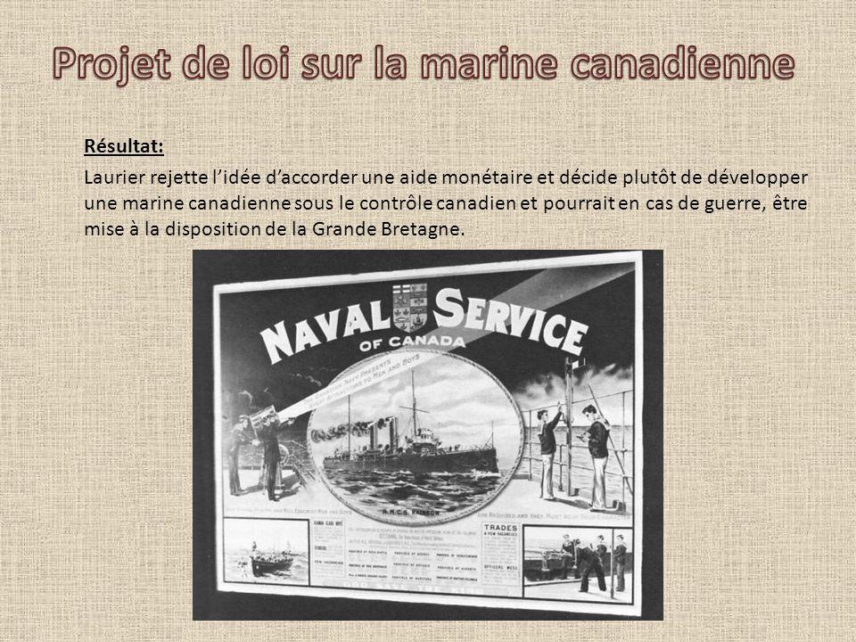 Résultat: Laurier rejette lidée daccorder une aide monétaire et décide plutôt de développer une marine canadienne sous le contrôle canadien et pourrai