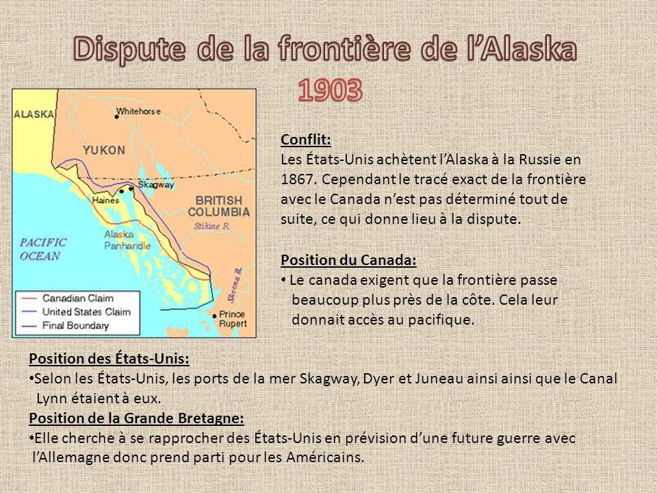 Conflit: Les États-Unis achètent lAlaska à la Russie en 1867. Cependant le tracé exact de la frontière avec le Canada nest pas déterminé tout de suite